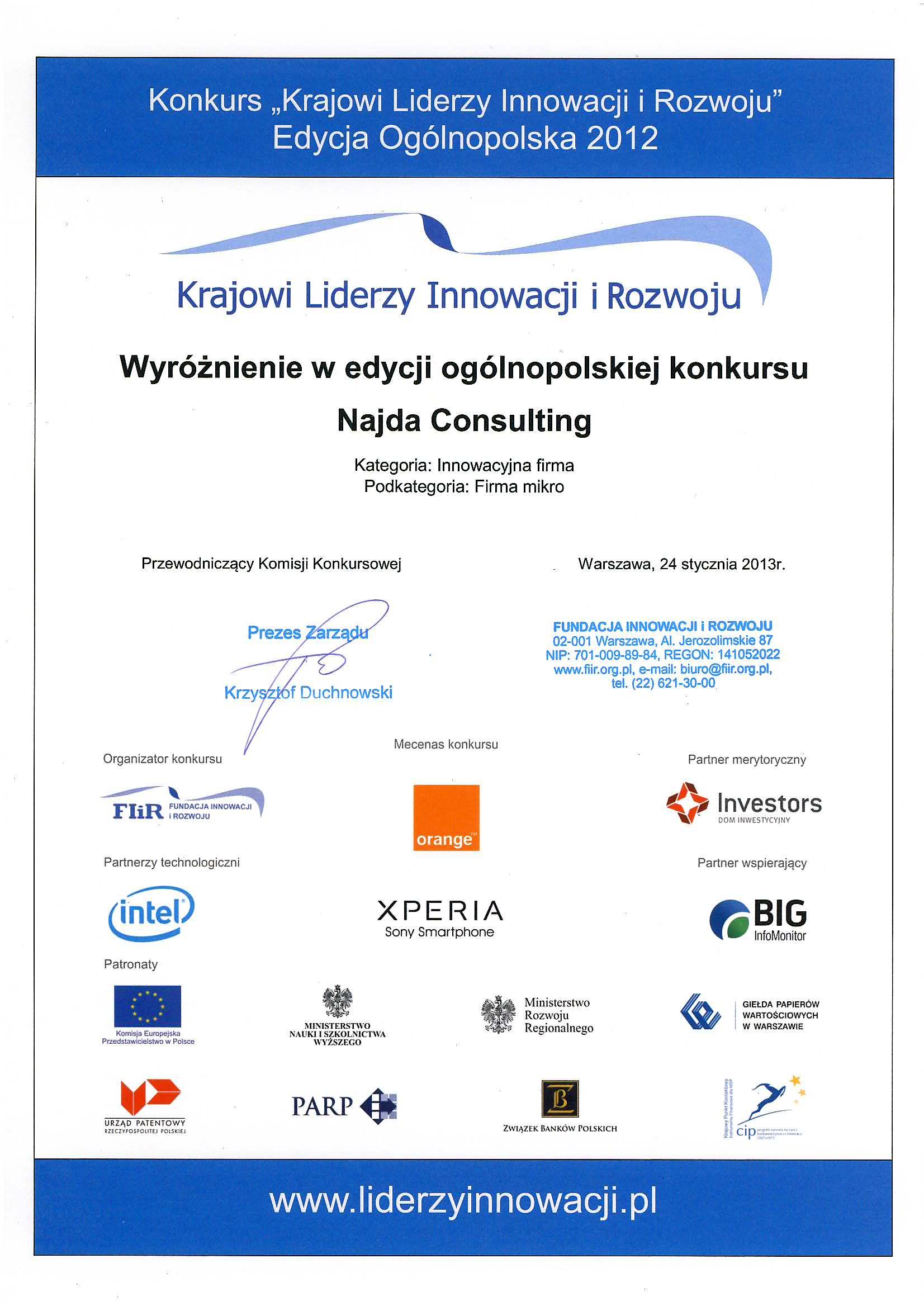 Krajowi Liderzy Innowacji iRozwoju Wyróżnienie wkategorii Innowacyjna Mała Firma 2012