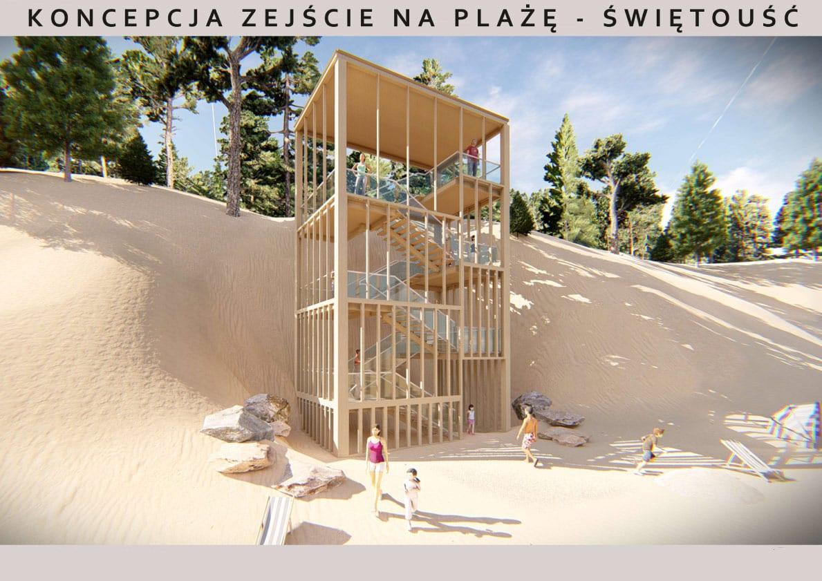koncepcje architektoniczne modernizacji zejść naplażę wŚwiętoujściu iWisełce