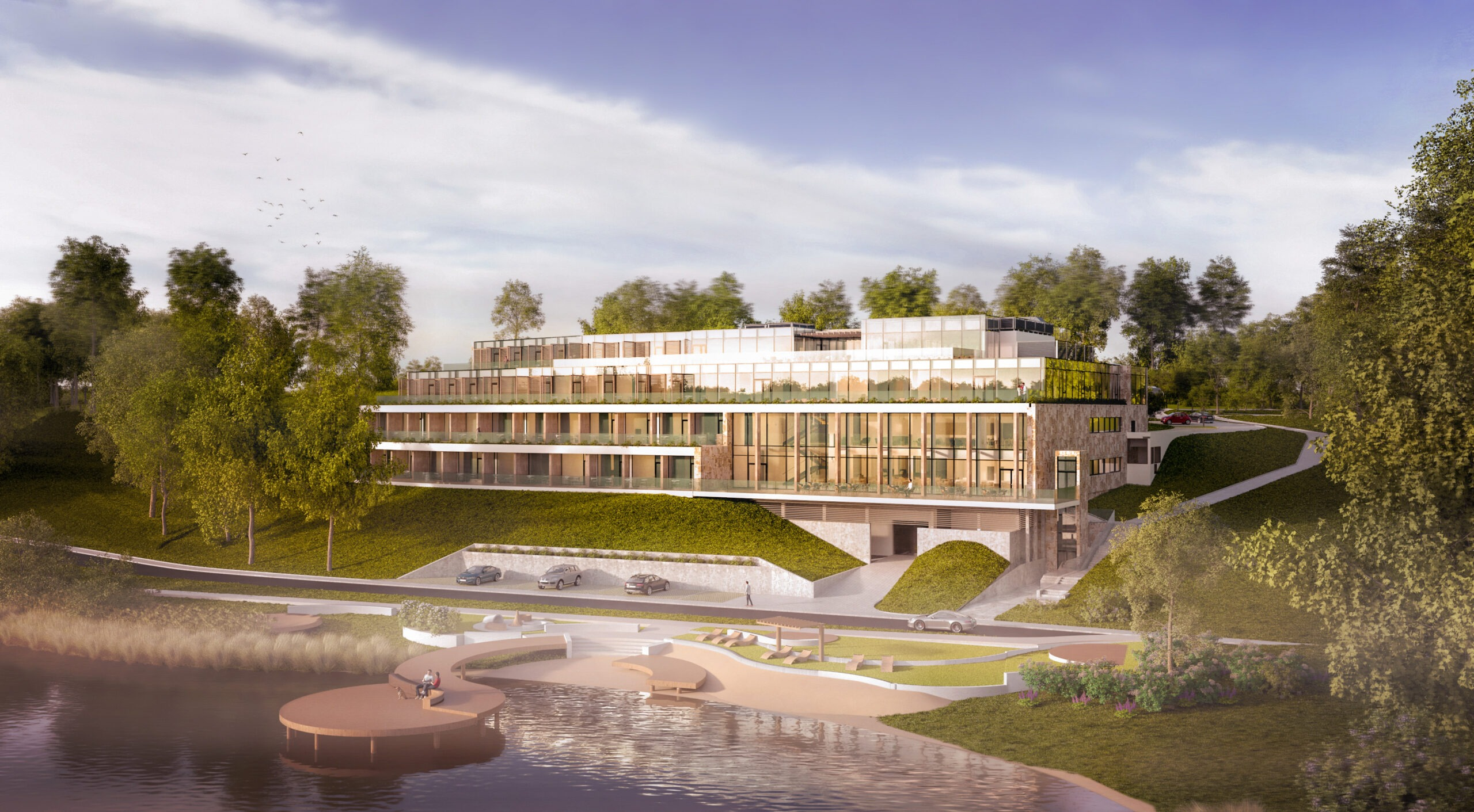 Postępy nabudowie nowoczesnego hotelu wWisełce